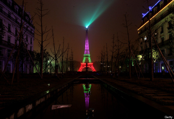 China's Eiffel Tower Lit For Holidays