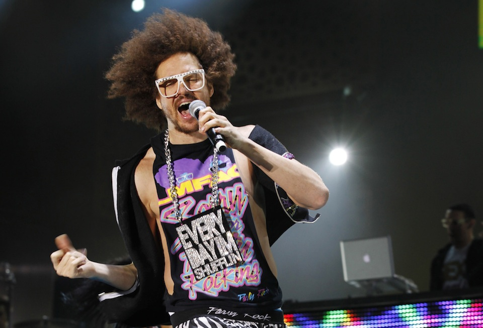 Redfoo of U.S. electropop group LMFAO performs during the Mawazine World Rhythms music festival in Rabat