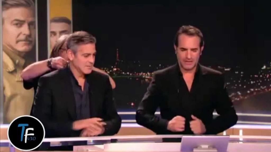 Georges clooney et jean dujardin s 39 amusent sur tf1 for Dujardin tf1