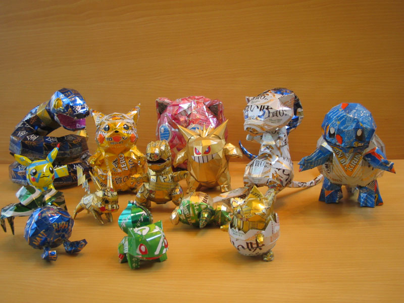 pokemon-made-from-aluminum-cans-japanese-artist-makaon