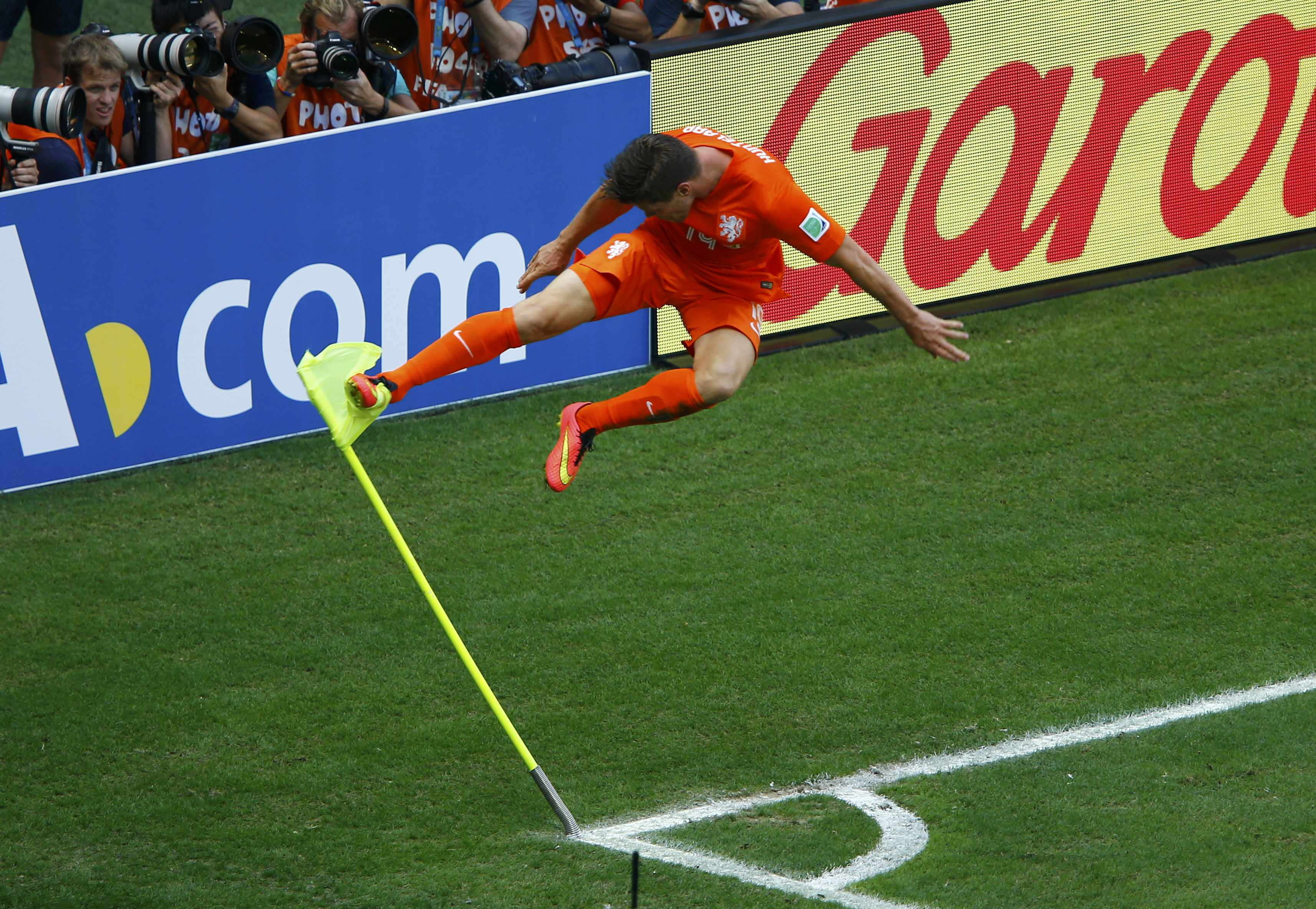 Klaas-Jan Huntelaar of the Netherlands celebrates after scoring a goal during the 2014 World Cup round of 16 game between Mexico and the Netherlands at the Castelao arena