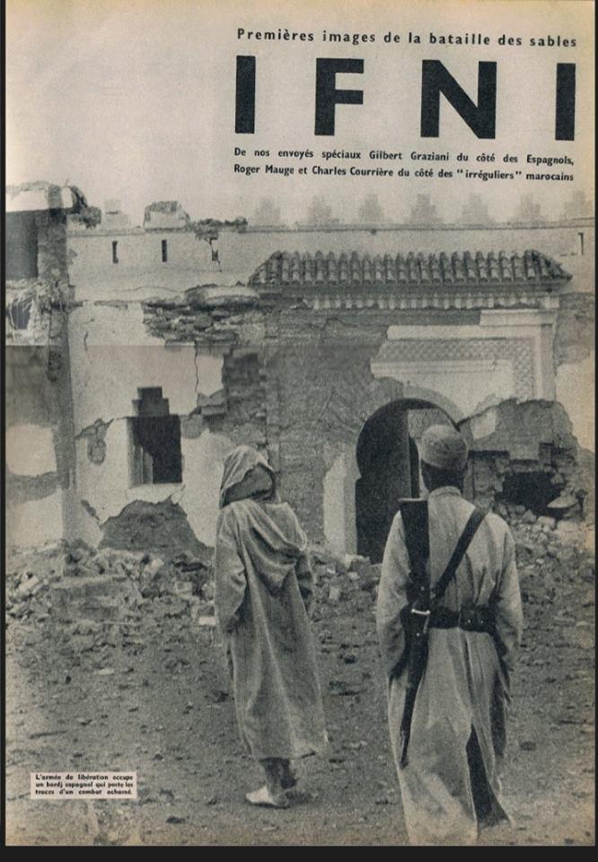 Extrait des premières images de la bataille des sables à Ifni, Paris Match, édition du 1° décembre 1957, 09/2014.