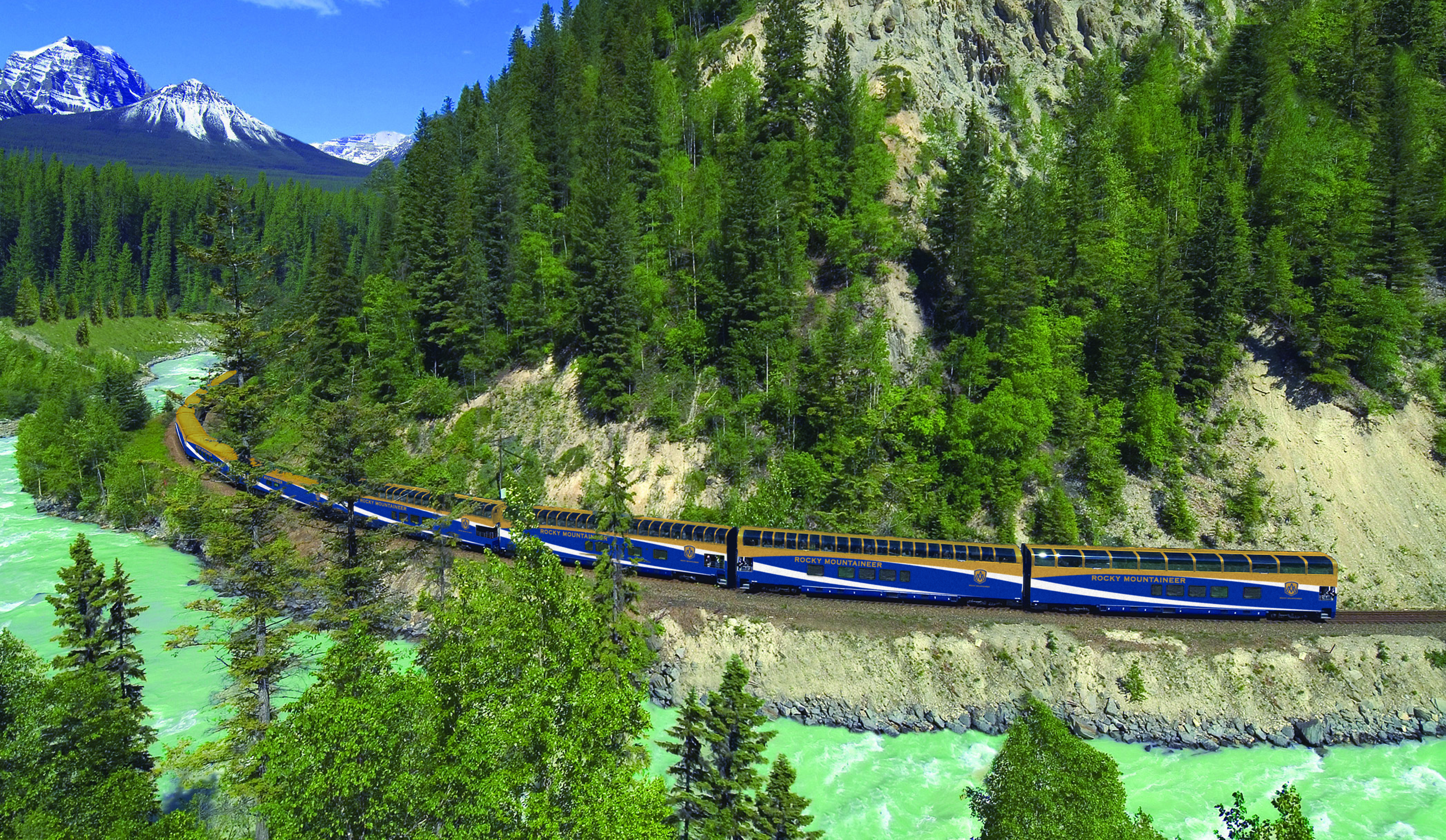 Rocky Mountaineer in the Canadian Rockies. Location is in the Kicking Horse Canyon east of Golden, B.C.