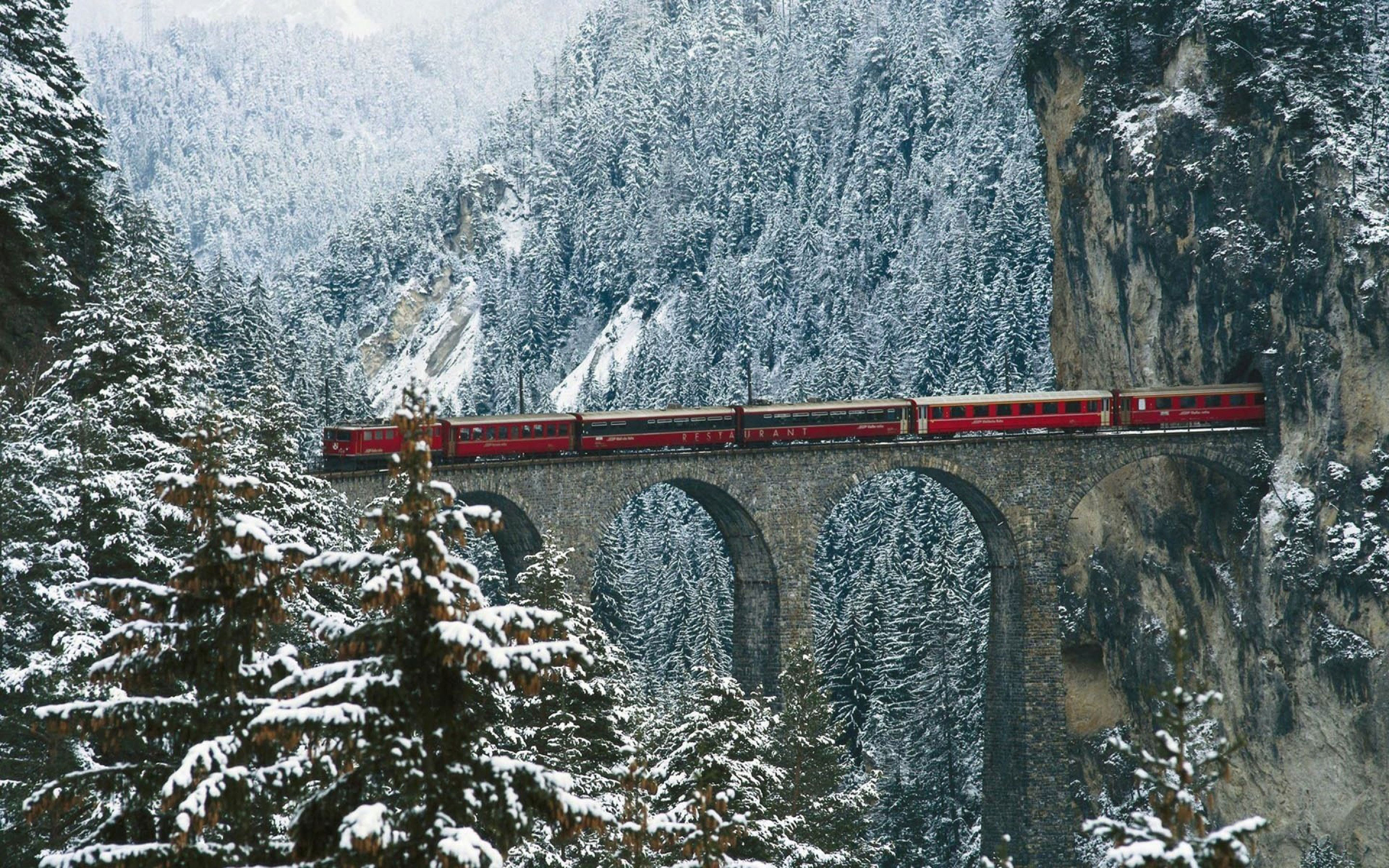 Landwasser Viaduct in Winter