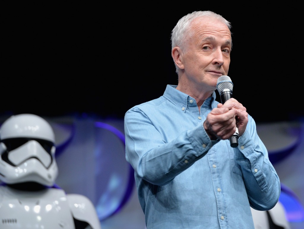 ANAHEIM, CA - APRIL 16: Actor Anthony Daniels speaks onstage during the Star Wars Celebration 2015 on April 16, 2015 in Anaheim, California. (Photo by Alberto E. Rodriguez/Getty Images for Disney) *** Local Caption *** Anthony Daniels