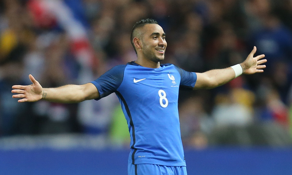France's Dimitri Payet jubilates after scoring his team's third goal during a friendly soccer match between France and Cameroon at the La Beaujoire Stadium in Nantes, western France, Monday, May 30, 2016. The French squad is in preparation for the EURO 2016 soccer championships which start on June 10, 2016. France won 3-2. (AP Photo/David Vincent) ORG XMIT: DAV121