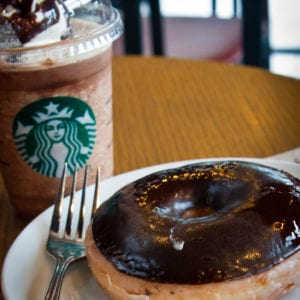 Chocolate Donut made in Starbucks!