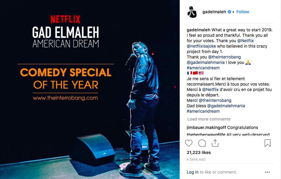 Gad Elmaleh remporte un prix américain pour son spectacle American Dream
