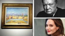 """Angelina Jolie vend le tableau de Churchill """"la tour de mosquée Koutoubia"""" peint à Marrakech"""